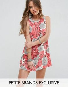 Glamorous Petite Red Floral Printed Sleeveless Shift Dress