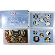 2010-S 14-Coin Silver Proof Set including 5 America the Beautiful Quarters and 4 Presidential Dollars