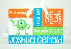 Mike Monsters Inc Inspired Baby Birth Stat Nursery by WoodenBlock, $17.00