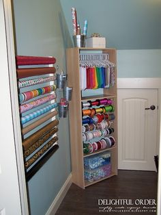 Delightful Order: Craft Room - Clients Home - Gift Wrap Center organize