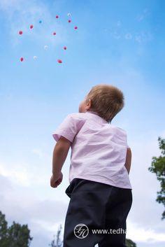 Kind schaut Luftballons hinterher. Hochzeitsfotos, Hochzeitsreportage