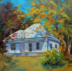 Little White House Old Country Home Portrait by ingridspaintings
