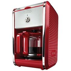 Coffee Maker 12 Cup Red Machine Permanent Filter Non-Stick Heating Plate Kitchen #BELLA