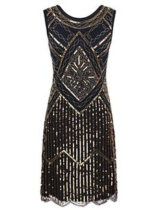 PrettyGuide Women's Vintage 1920s Sequin Beaded Scalloped Hem Flapper Dress * Details can be found by clicking on the image.