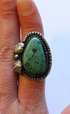 Large Turquoise and Sterling Silver Native Ring