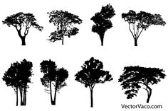 Free tree silhouettes vector pack.. More Free Vector Graphics, www.123freevectors.com