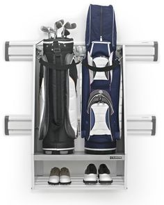 Gladiator GearTrack Hammered White Steel Golf Bag Caddy at Lowe's. Golf bag storage is made easy with the Gladiator® Golf Caddy. This caddy has room for two oversized golf bags, plus extra storage for golf balls. Garage Wall Storage, Bike Storage Rack, Bag Storage, Garage Organization, Extra Storage, Organized Garage, Smart Storage, Garage Shelving, Door Storage