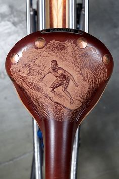 An etched Brooks England saddle is one of the many details that adorn this ti surfer's bike by Groovy Cycleworks. Wooden fenders, Gates Carbon Drivetrain, and a Best in Show award at the 2015 North American Handmade Bicycle Show are others: Pro Bike, Fixed Gear Bike, Montague Bike, Bike Tools, Bike Details, Cycling Art, Bicycle Parts, Bike Style, Bicycle Design