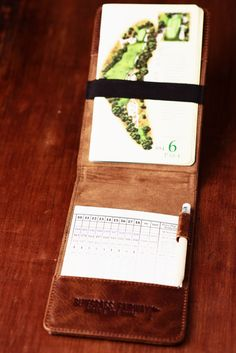 Personalized Handmade Leather Golf Scorecard Holder Yardage Book In Vintage Whiskey Tan