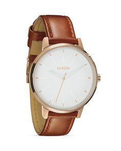 Nixon The Kensington Leather Strap Watch, 37mm | Stainless steel/leather | Imported | Case size: 37mm | Buckle closure | Water resistant to 5 ATM | 3-hand Miyota Japanese quartz movement; rose gold–to