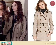 Spencer's trench coat with black leather trim on Pretty Little Liars. Outfit Details: http://wornontv.net/34603/ #PLL