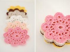 crochet coasters!  Free pattern!
