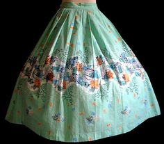 Vintage 50's Hot Air Balloon World Travel NOVELTY PRINT Cotton Circle Skirt #Holiday