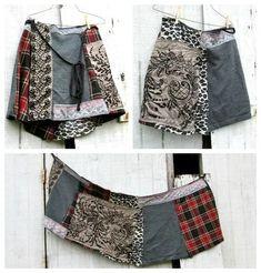 funky patchwork day skirt / cotton wrap skirt / tshirt skirt / jersey knit skirt / upcycled skirt by CreoleSha T-shirt Rock, Jersey Knit Skirt, Dark Grey Leggings, Red Turtleneck, White Caps, Shirt Refashion, Trends, Diy Clothes, Denim