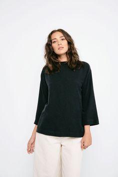 Elizabeth Suzann Eva Top in black raw silk   size M