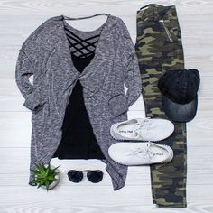 Post yoga outfit!  Need to make some errand runs after your workout? Just add camo pants!  www.shopelysian.com Plot Twist Knit Top $58 online  in-store Layer Me Criss Cross Tank. $38 Online  in-store  Put A Cap On It Denim $22 in-store only. @quayaustralia Needing Fame Sunnies in Black/Smoke $46. In store only.  Kickin' it Sneakers in White $46. online  in-store. #WearElysianDaily http://ift.tt/2hd4zE0 Post yoga outfit!  Need to make some errand runs after your workout? Just add camo pants…