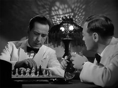 An avid chess player of expert ability, Humphrey Bogart reportedly had the idea that Rick Blaine be portrayed as one, a metaphor for the sparring relationship he maintained with friends, enemies, and tenuous allies. One subtle element that makes it stand out over all other scenes is that Rick is visibly analyzing by himself, with no opponent now or later. It is a chess player's thing that makes it stand apart.