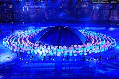 London lives up to its reputation with an umbrella light show during the Paralympic Opening Ceremonies