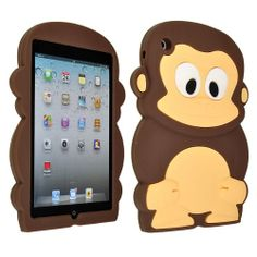 Cute 3D Lovely Cartoon Coffee Monkey Silicone Soft Back Cover Skin Case for Apple iPad Mini (Color Optional) - Cute Silicone iPad Mini Cases...