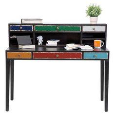 Desk Harlekin Black Wood Desk, Top Drawer, Eclectic Style, Wall Prints,  Distressed