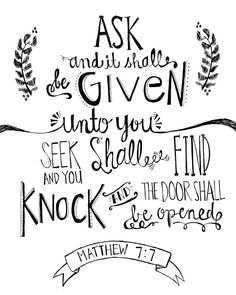 Matthew 7:7 Bible verse chalkboard 8x10 print hand drawn inspirational quote. $19.00, via Etsy.
