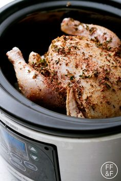 This Herb Rubbed Slow Cooker Whole Chicken is the easiest and juiciest roast chicken you'll ever make! New Recipes, Real Food Recipes, Yummy Food, Favorite Recipes, Healthy Recipes, Healthy Meals, Slow Cooker Recipes, Crockpot Recipes, Chicken Recipes