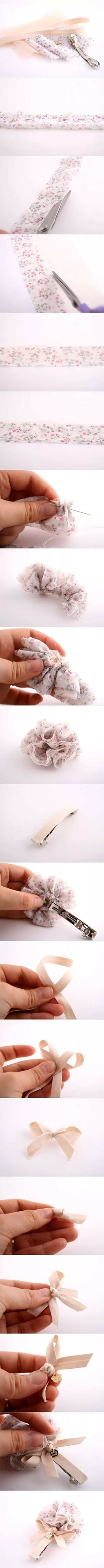堆糖-美好生活研究所 Ribbon Art, Ribbon Crafts, Flower Crafts, Felt Flowers, Diy Flowers, Fabric Flowers, Ribbon Embroidery Tutorial, Fabric Flower Tutorial, Baby Hair Clips