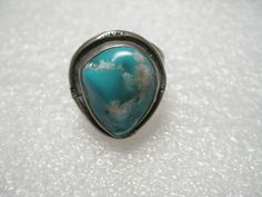 Vintage Sterling Silver Bezel-Set Vibrant Turquoise Ring, Stamped Accents sz. 8 #unsigned