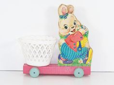 Vintage Easter Bunny / Vintage Fisher Price / Bunny Pull Toy / 1960's...we had this toy and I haven't thought of it in 40 years! How cool to see this photo.