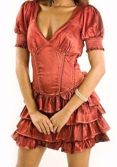 Si+Style+Vermilion+Orange+Sexy+Distressed+Corduroy++Corset+Ruffle+Tier+Dress