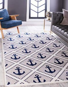 Breakwater Bay This Turkish rug is made of polypropylene. This rug is easy to clean, stain resistant, and does not shed. Colours found in this rug include: grey, ivory, navy blue. The primary colour is grey. Rug Size: Rectangle x Outdoor Area Rugs, Indoor Outdoor, Traditional Area Rugs, Machine Made Rugs, Geometric Rug, Bedroom Themes, Trendy Colors, Blue Area Rugs, Rug Size