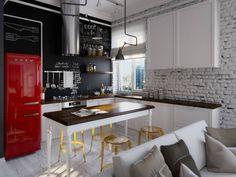 Квартира-студия в стиле лофт в центре Москвы: Кухни в Лофт. Автор - Aiya Lisova Design