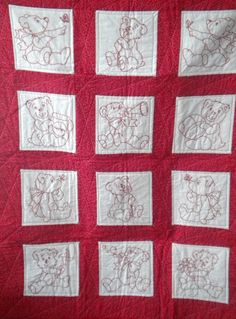 Little Bears in Redwork Baby Quilt/ Toddler Blanket Toddler Themes, Theme Bedrooms, Embroidered Quilts, Toddler Blanket, Diy Doll, Needle And Thread, Machine Quilting, Baby Quilts, Quilt Blocks