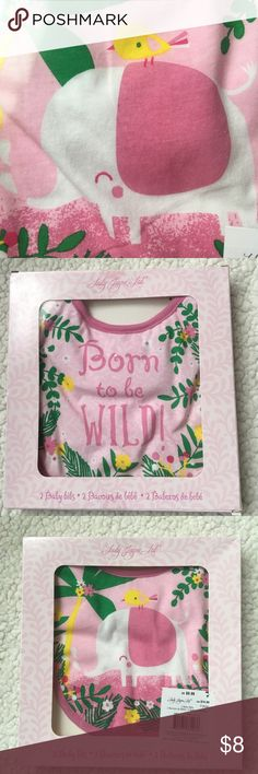 NWT Baby Girl Bibs Only 3 left!! Lady Jane Bibs. 2 in a box. Born to be wild and elephant print. Lady Jane Accessories Bibs