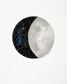 Moon and Stars 2 - Original Contemporary 8x10 Watercolour Painting - Night Sky…