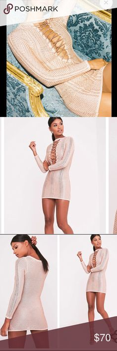 Pretty Little Thing Laced up Venita dress RoseGold PrettyLittleThing Venita Rose Gold laced up dress Us8UK12  New with tags. Perfect for NYE !!! pretty little thing Dresses Mini