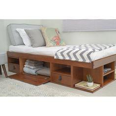 Latitude Run® Pharr Bed & Reviews | Wayfair High Platform Bed, Raised Platform Bed, Platform Bed With Storage, Platform Bed Frame, Upholstered Platform Bed, Diy Storage Bed, Bed Frame With Storage, Under Bed Storage, Bedroom Storage