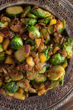 Bacon Apple and Caramelized Onion Brussels Sprouts