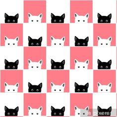 Papel Pintado Estándar Ilustración de vector de fondo de tablero de ajedrez de gato rosa blanco negro - Animales Kids Rugs, Memes, Pink Cat, Blanco Y Negro, Chess Boards, Blue Backgrounds, Vector Background, Drawings Of Cats, Wall Papers