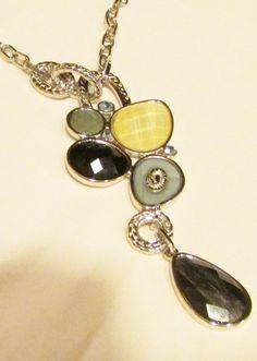 NWT Lia Sophia Azure Mother of Pearl Silvertone Crystal Pendant Necklace   #LiaSophia #Pendant