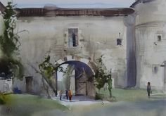 Ilya Ibryaev - Plein Air in Rochemaure (France) - watercolor (53х35) cm