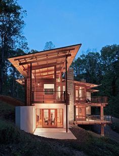 Architecture, Modern Wooden Residence with Nature Surrounding : Wooden House With Nature View Plans Architecture, Residential Architecture, Interior Architecture, Interior Modern, Contemporary Architecture, Installation Architecture, Contemporary Stairs, Contemporary Building, Contemporary Cottage