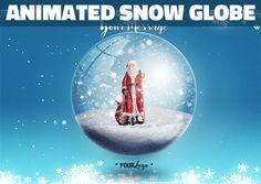 Animated Snow Globe Photoshop Action for Christmas