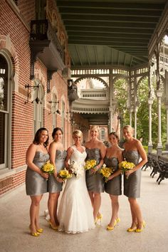 grey bridesmaid dresses with pops of bold yellow! Teal dress w orange shoes. Yellow Bridesmaids, Always A Bridesmaid, Grey Bridesmaid Dresses, Bridesmaids And Groomsmen, Wedding Bridesmaids, Wedding Dresses, Wedding Pics, Wedding Bells, Wedding Styles