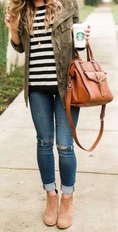 **** Stitch Fix April 2017! Love this gorgeous olive green cargo jacket paired with black and white striped henley and cuffed distressed jean. Pair with your favorite ankle booties and bag! Get great looks just like these from Stitch Fix today! Stitch Fix Fall, Stitch Fix Spring, Stitch Fix Summer 2016 2017. Stitch Fix Spring Summer fashion. Resort Wear #StitchFix #Affiliate #StitchFixInfluencer