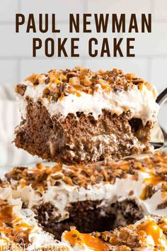 Looking for an easy cake recipe that is perfect for the summer? Our Paul Newman cake is full of rich chocolate and caramel flavors and couldn't be easier to make! German Chocolate Cake Mix, Chocolate Caramel Cake, Chocolate Recipes, Paul Newman, Poke Cake Recipes, Best Cake Recipes, Easy Recipes, Favorite Recipes, Sweet Recipes
