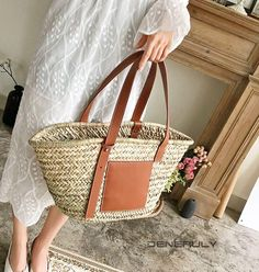 Going To The Beach Tote Straw Bag