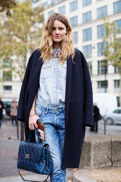 Jeans, jean shirt, blue coat