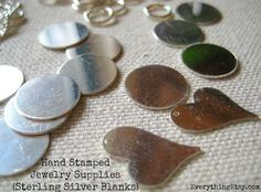 Hand stamped jewelry supplies - sterling silver blanks #JewelrySupplies