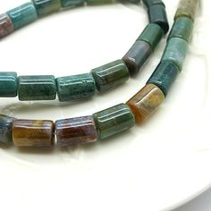 India agate beads tube shape natural india agate by FARRAgem